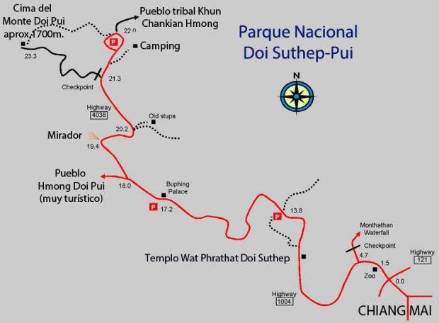 Mapa-del-parque-nacional-Doi-Suthep-Pui