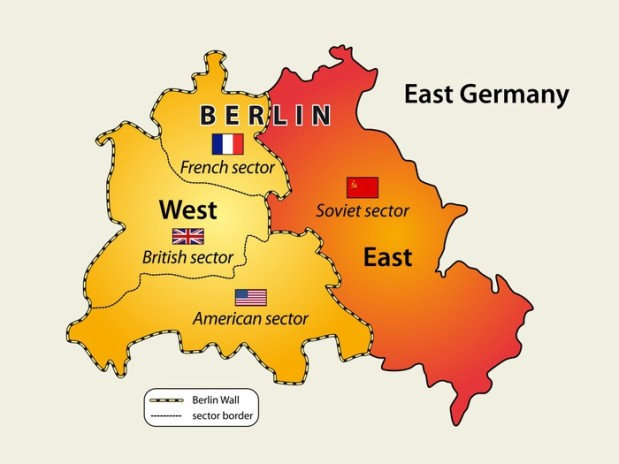 Map of Berlin wall (1961 - 1989) in Cold war.